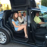 hanging out in the tesla